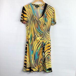 FRANK LYMAN Design Abstract faux wrap Print dress